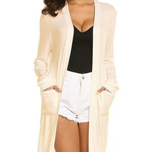 Locryz Long Sleeve Duster With Pockets in BLACK